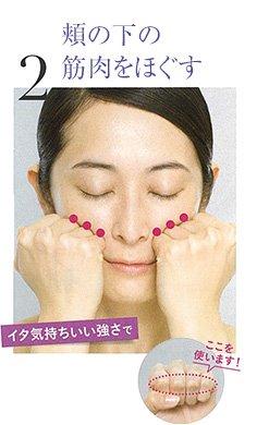 2.頬の下の筋肉をほぐす